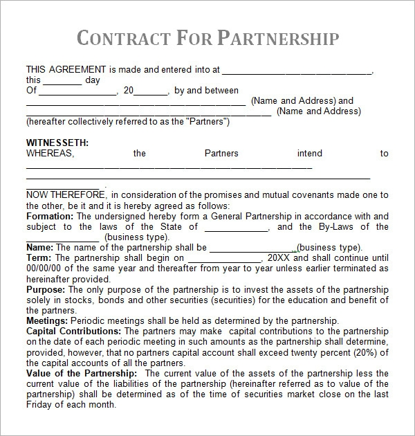partnership contract template2