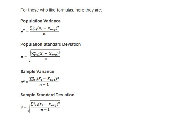 Population Sample Variance
