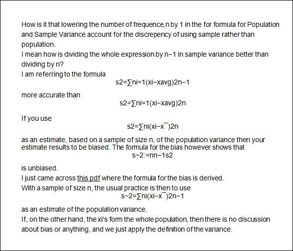 Population Variance And Sample Variance