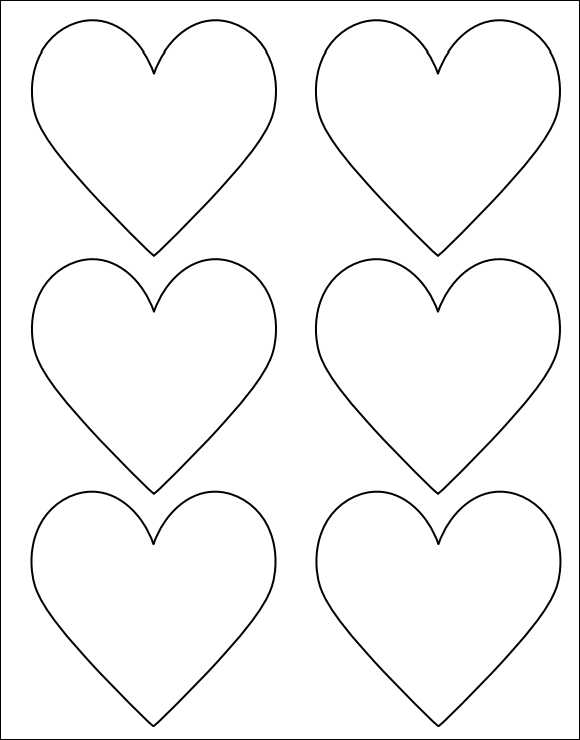 Striking image inside printable hearts template