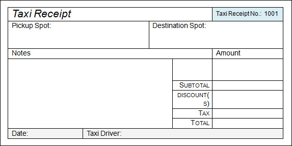 Taxi Receipt Template 9 Free Download for Word PDF – Receipt Copy Format