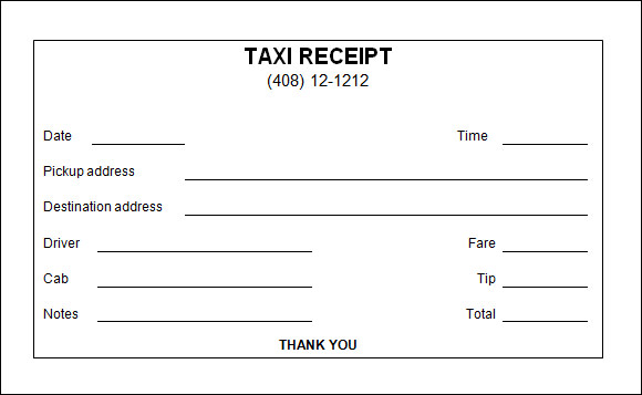 Taxi Receipt Template 9 Free Download for Word PDF – Free Reciept