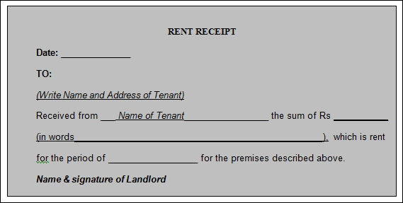 Free Word Templates  Format Of Rent Receipt