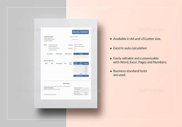 rental invoice template1