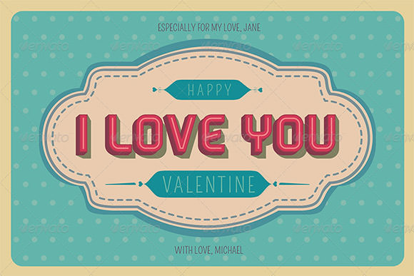 retro valentines day greeting card