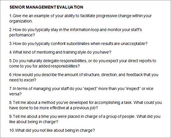 senior management evaluation