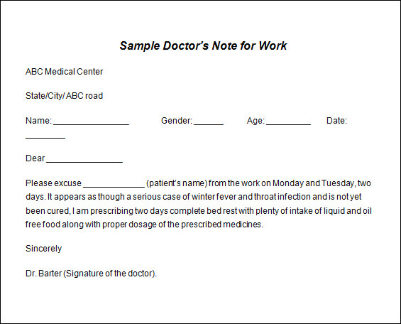 Sample Doctor Note Template   19  Free Documents in PDF Word TiFTdtJm