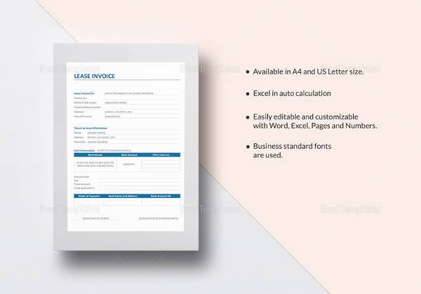 Invoice Templates To Free Download Sample Templates - Lease invoice template