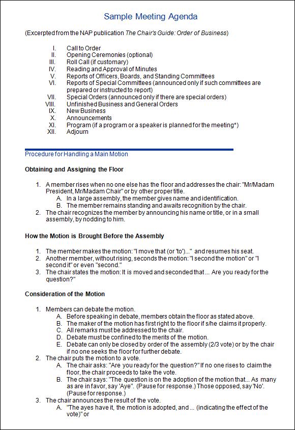 sample meeting minutes template .