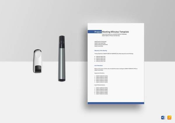 sample project meeting minutes template