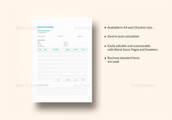 -Fee-Receipt-Template Tax Exemption Letter Sample Template on illinois state, estate sales,