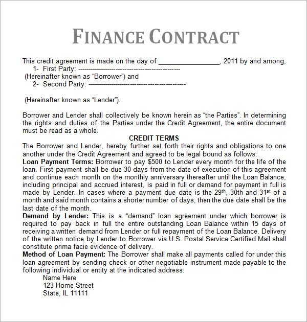 service contract template sample