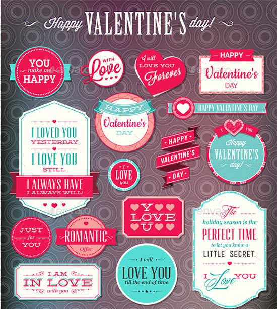 set of love labels
