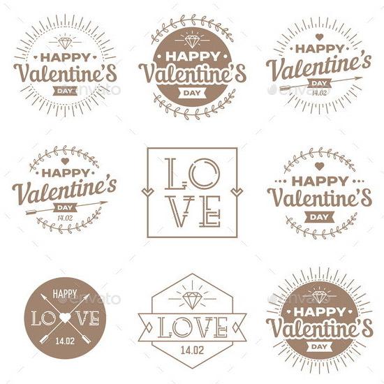 set of valentines day vintage labels