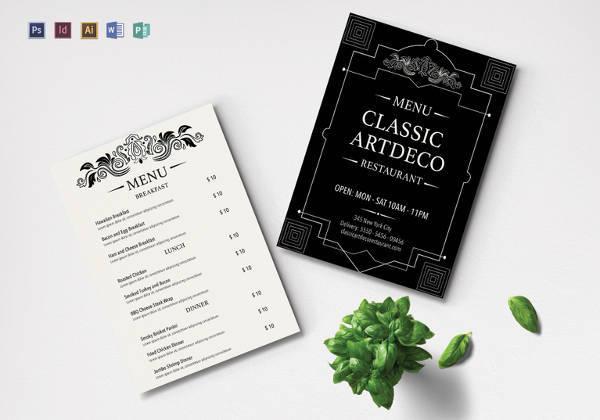 simple art deco menu template