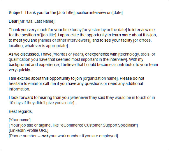 thank you letter after interview email thank you letter after 10 free for 25091 | Thank You Letter After Interview Email1
