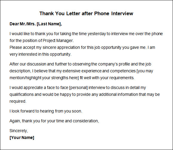 Sample Thank You Letters After Phone Interview