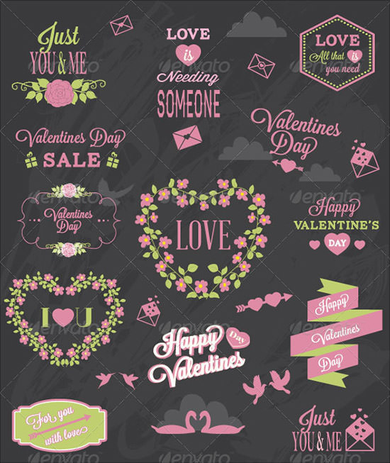 valentine's day labels elements set