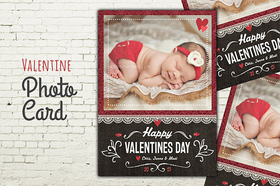 valentine photo card psd