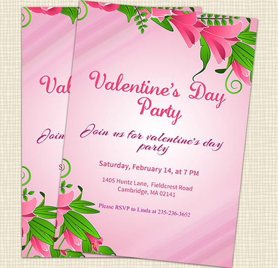 20 Best Valentines Day Invitation Templates – Valentine Party Invitation Template