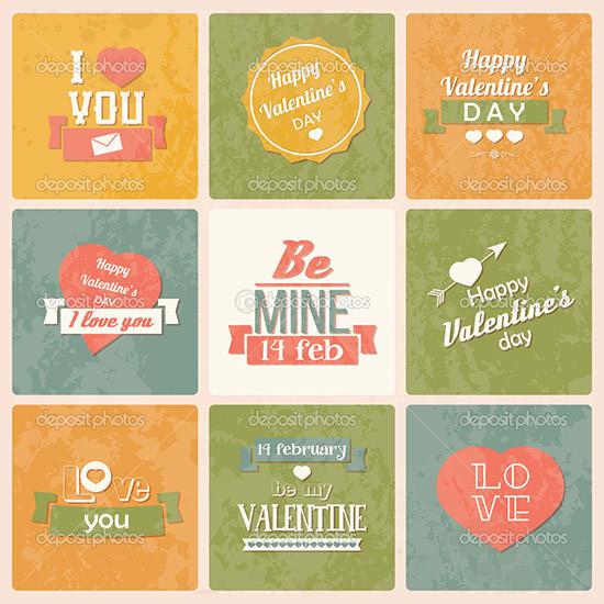 valentine s day vintage design labels