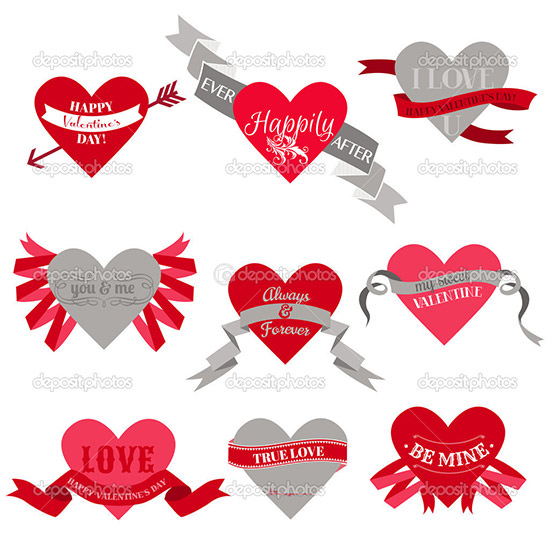valentines day heart labels