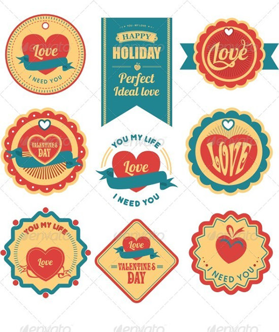 valentines day labels tags
