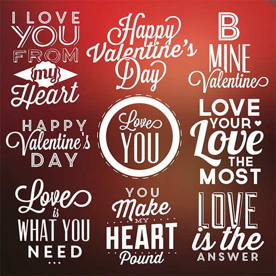 valentines day labels vector pack