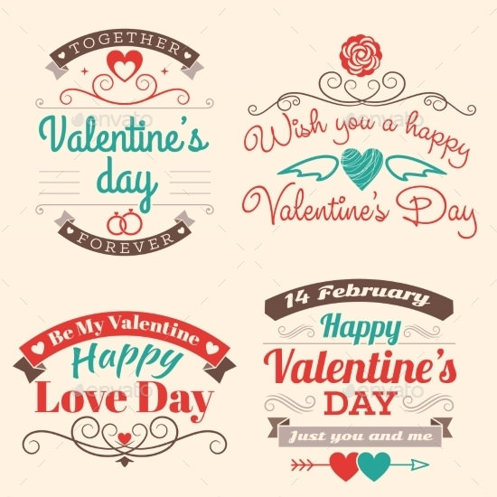 valentines day set of label