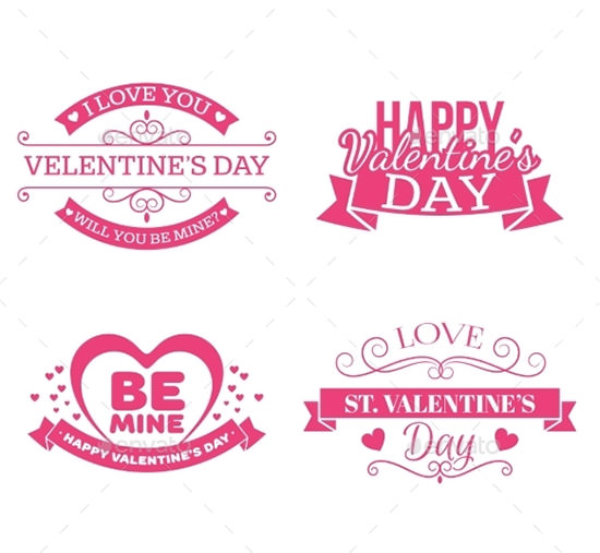 valentines day set of labels