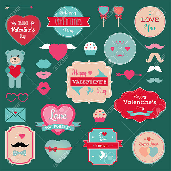 valentines day labeles set