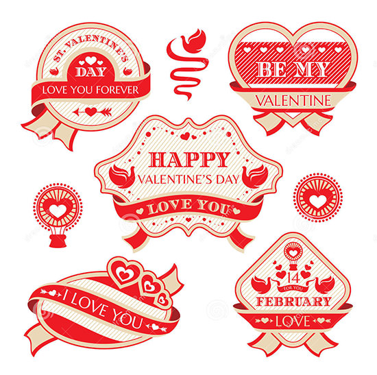 valentines day decorative labels