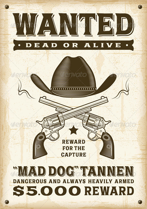 20 free wanted poster templates to download sample templates for Wanted dead or alive poster template free