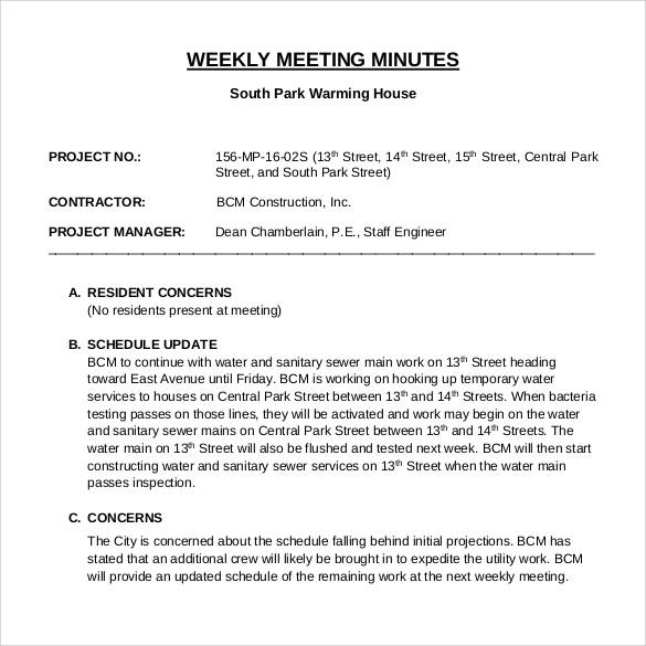 42 free sample meeting minutes templates sample templates for Weekly meeting minutes template