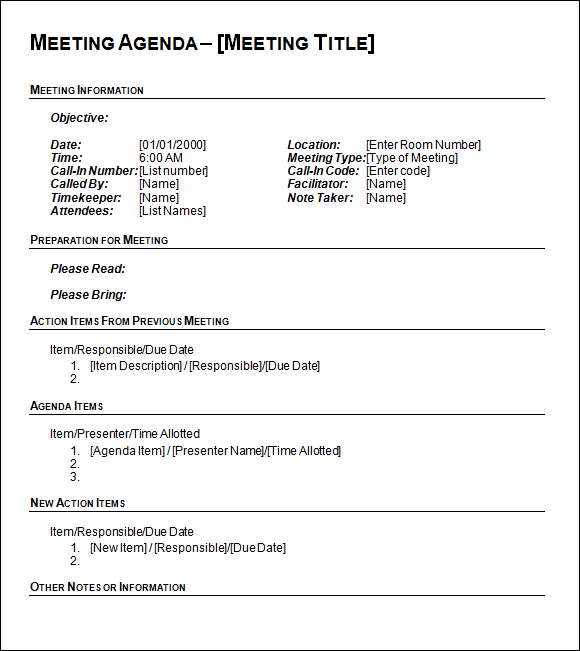 Agenda Template Word  Agenda Meeting Example