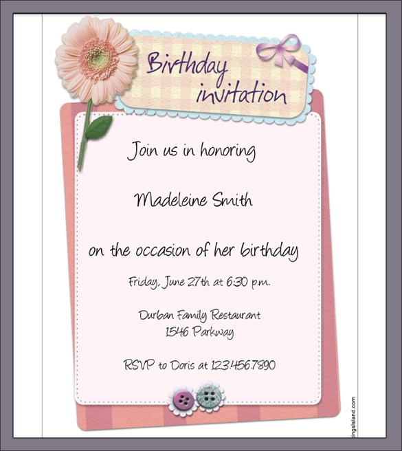 Sample Invitation Letter - Informal invitation letter to a birthday party