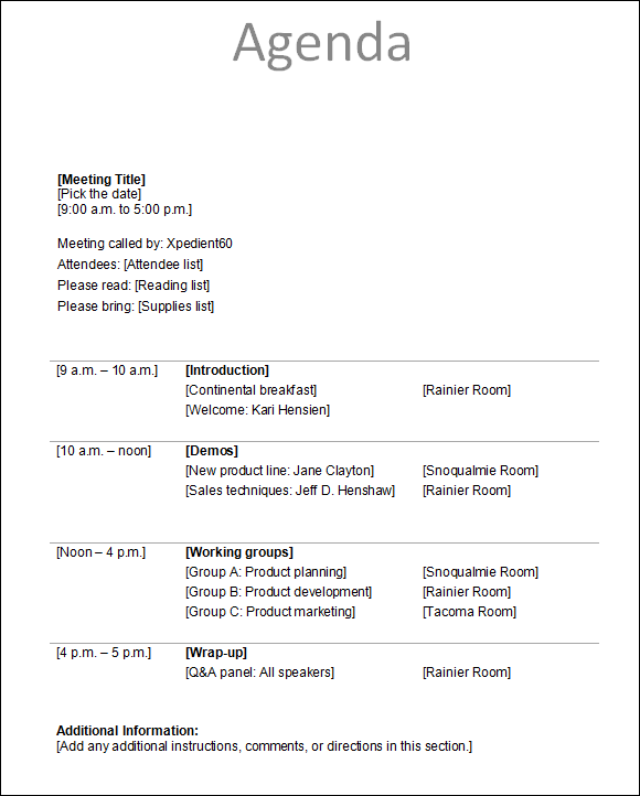 email meeting agenda template – Agenda for a Meeting Template