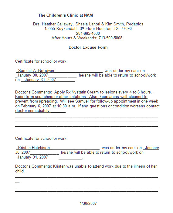 doctors note template .