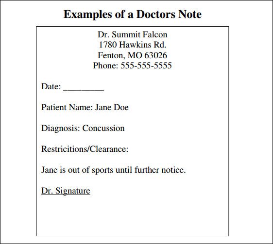 Sample Doctor Note 30 Free Documents in PDF Word – Doctor Note