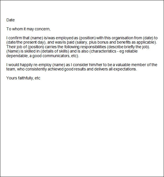 sample employment reference letter template