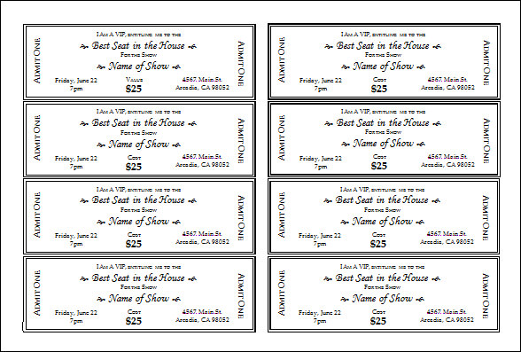 Delightful Template For Tickets Free Ideas