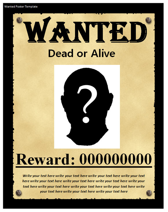 Terrible image pertaining to free wanted poster template printable