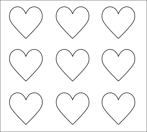 Simplicity image within printable hearts template