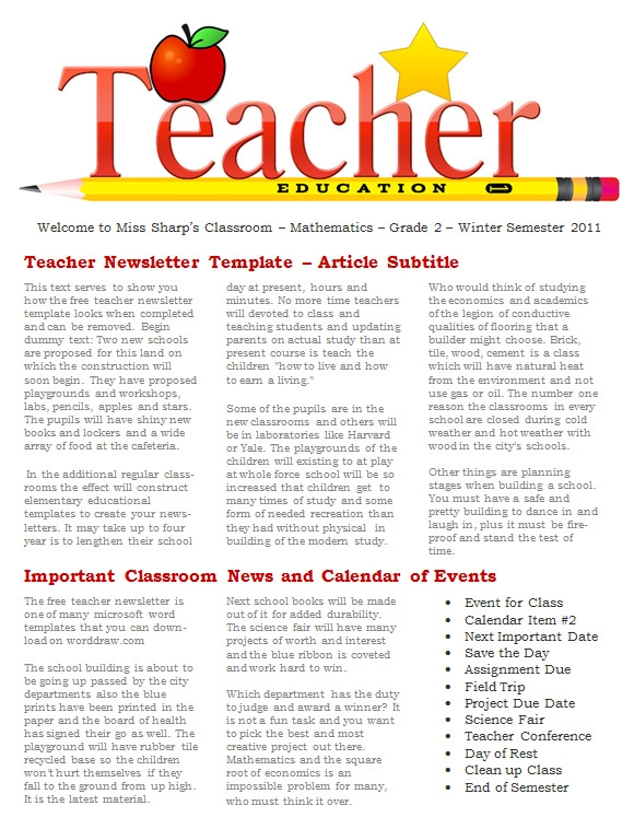 20 fantastic printable newsletter templates sample for Free editable newsletter templates for teachers