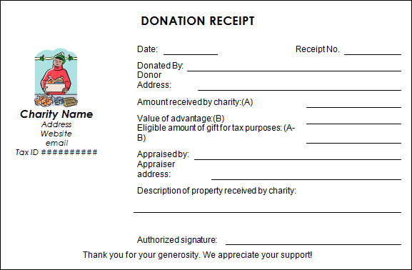 donation receipt form template