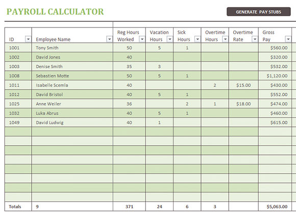 sample pay stub template excel .
