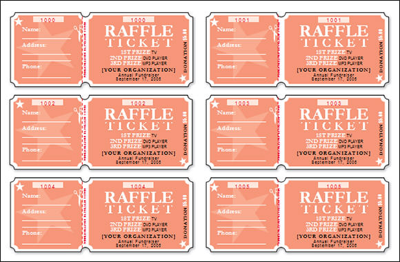 Raffle Ticket Template  Concert Ticket Template Free Printable