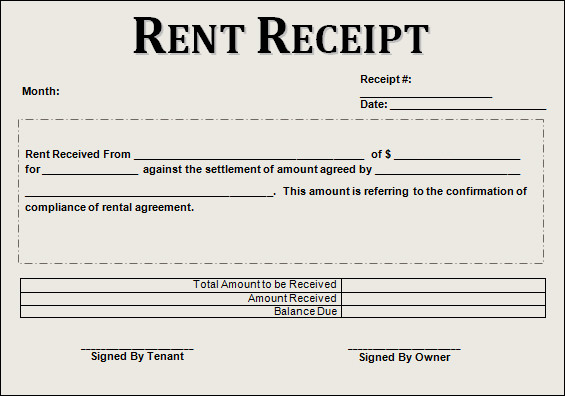 Rent Receipt, Rent Receipt Template | Sample Templates