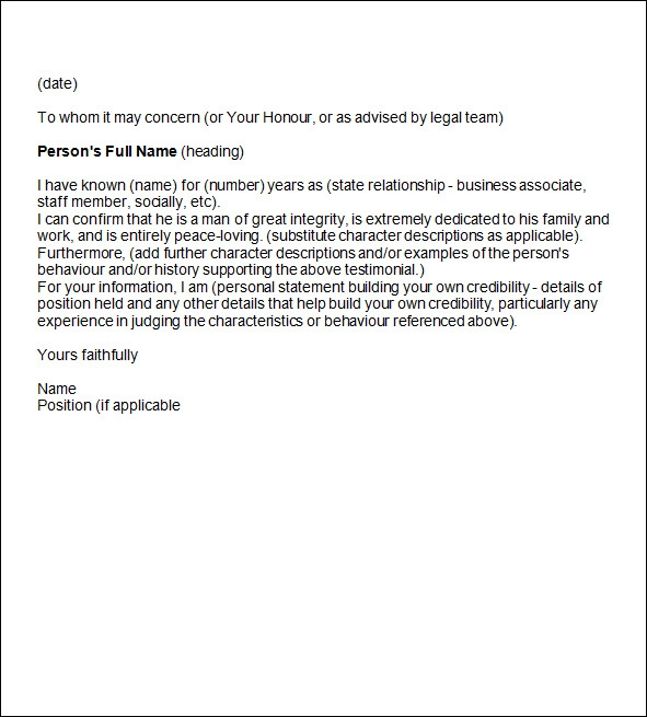 sample character reference letter template .
