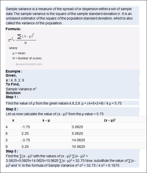 sample variance statistics